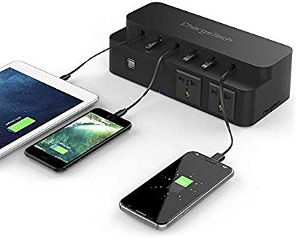 Black ChargeTech Cell Phone Charging Station Power Strip Dock w// 10 Universal Charging Tips Included for Multiple Devices