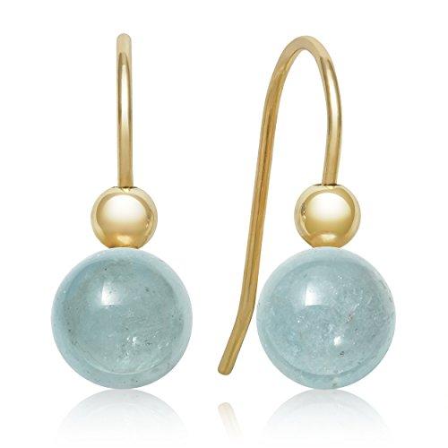 Yellow Gold Genuine Aquamarine Earrings - 4