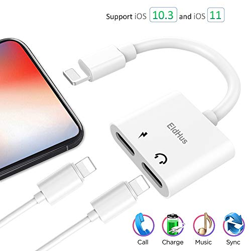 Onlier Compatible Adapter & Splitter for IP X / 7 / 7 plus / 8 / 8 plus,Applicable Dual Headphone Audio &  Charge Adapter,2 in 1 Charger Audio Aux Cable Jack Call + Sync + Charging + Music for iPh X