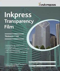 Inkpress Transparency Film - Inkpress Inkjet Transparency Film 11x17 50 Sheets
