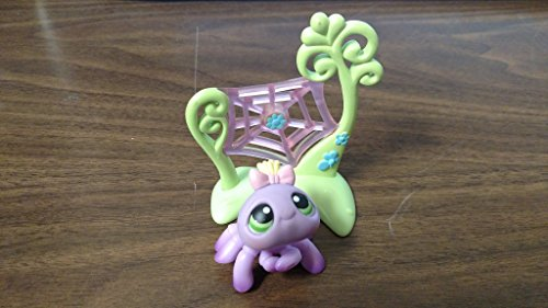 (Spider #136 (Purple, Pink Bow, Yellow Hair) - Littlest Pet Shop (Retired) Collector Toy - LPS Collectible Replacement Single Figure - Loose (OOP Out of Package & Print))