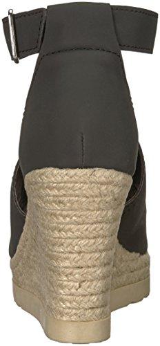 Calefacción con Sugar Nubuck Mujer Sandalias para black Heated Cuña SGR de de Negro T4YXT
