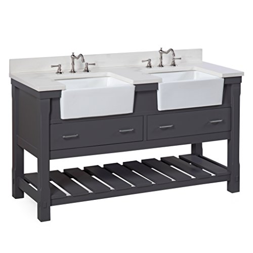 Charlotte 60-inch Double Bathroom Vanity (Quartz/Charcoal Gray): Includes a White Quartz Countertop, Charcoal Gray Cabinet with Soft Close Drawers, and White Ceramic Farmhouse Apron - Double Sink Drawers Three Vanity