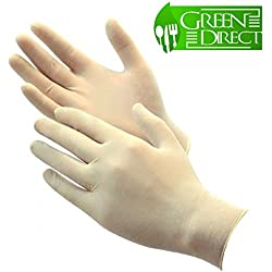 Green Direct Latex Gloves Powder Free / Disposable Food Prep Cooking Gloves / Kitchen Food Service Cleaning Gloves (Large)