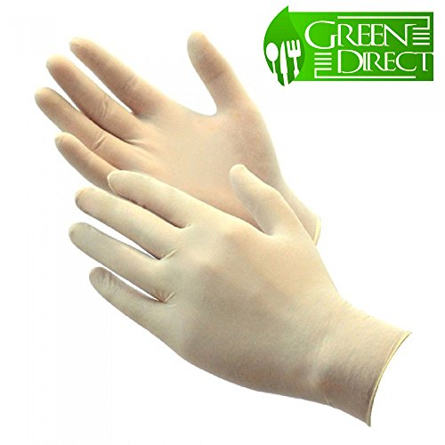 Direct Kitchen - Green Direct Latex Gloves Powder Free / Disposable Food Prep Cooking Gloves / Kitchen Food Service Cleaning Gloves (Large)100 gloves