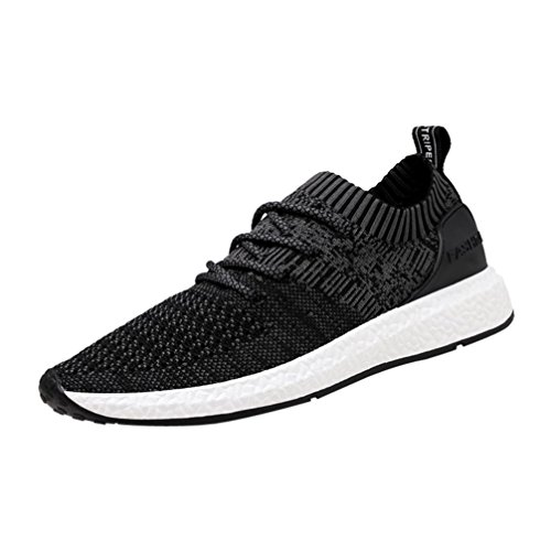 2018 Mens Running Sneaker,Casual Mesh Breathable Lace up Sports Shoes (Black, US:6.5) by Aurorax-Shoes