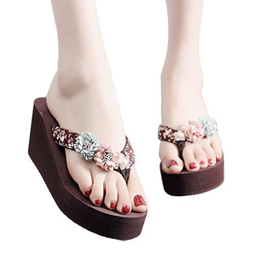 Sandalias de El Medio Suela Verano Brown B Gruesa USA de Chanclas Femenino Antideslizantes Tacón AJZGF HpTFwqp