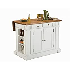 Farmhouse Kitchen Americana White & Distressed Oak Kitchen Island by Home Styles farmhouse kitchen islands and carts