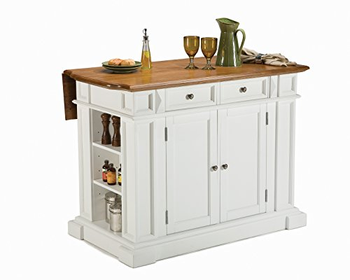 Home Styles 5002-94 Kitchen Island, White and Distressed Oak (Kitchen Island With Drop Leaf)
