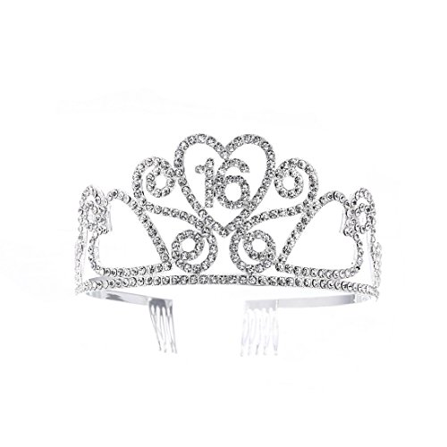(FF 16th Birthday Tiara Crown with Combs Silver Finish)