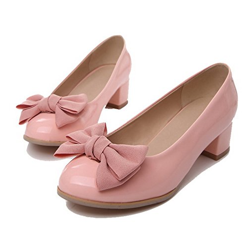 Odomolor Women's Low-Heels PU Solid Pull-On Round-Toe Pumps-Shoes, Pink, 42
