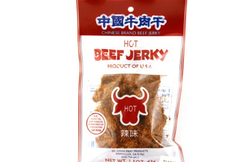 China Meat Beef Jerky (Hot Flavor) - 1.5oz - 43g (Pack of 6)