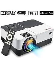 """GEARGO Mini proyector, 2800 Lúmenes Full HD 1080P Proyector Portátil, Pantalla de 185"""", 50000 Horas Proyector LED de Video de Cine en casa Compatible con PC Smartphone Tablet"""