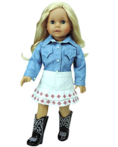 Western Clothes Boots (18 Inch Doll Western Outfit, Chambray Shirt & White Embroidered Skirt, Perfect for American Girl Dolls & More! 18 Inch Cowgirl Chambray Doll Shirt & White Embroidered Skirt)