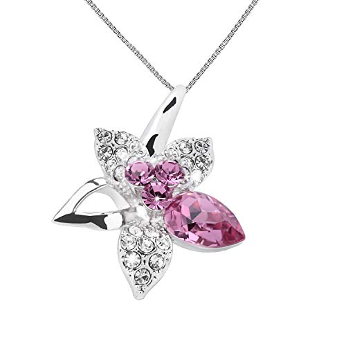 (OLYSHE Necklace Pendant for Women for Women Swarovski Jewelry Flower Anniversary Birthday Gift (Flower Pink))