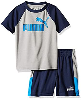 PUMA Toddler Boys' T-Shirt & Short Set, Light Heather Grey, 2T