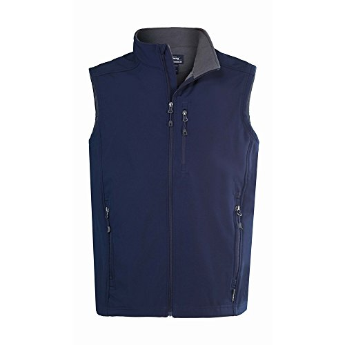 Landway Men's Water Resistant Bonded Soft Shell Vest, Navy, Small