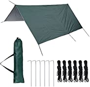 Leafgreenus 10x10Ft Hammock Rain Fly Waterproof Tent Tarp with 6 Stakes and Ropes Camping Tent Tarps Lightweig