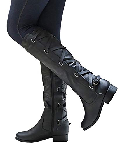 Kathemoi Womens Knee High Boots Lace Up Strappy Fall Winter Flat Low Heel Riding Boots Black (Lace Up Knee High Flat Heel Boots)