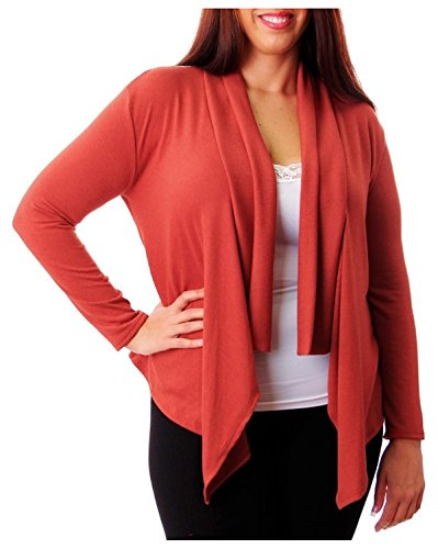 G2 Chic Women's Plus Size Open Front Cardigan with Lace Back(TOP-CGN,DRD-3XL)