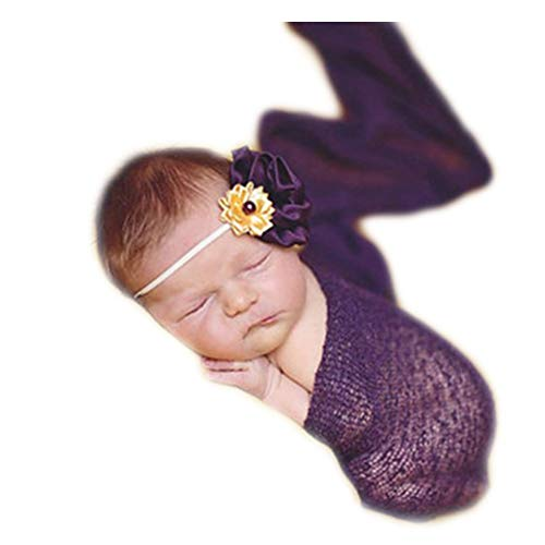 - Luxury Stretch Newborn Boy Girl Baby Photography Props Wrap Yarn Cloth Blanket (Purple)