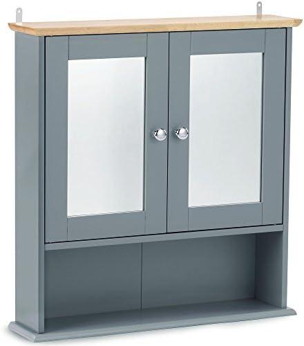 VonHaus – Armario de baño con Espejos – Armario botiquín con estantería – Armario de Pared para baño Color Gris Moderno