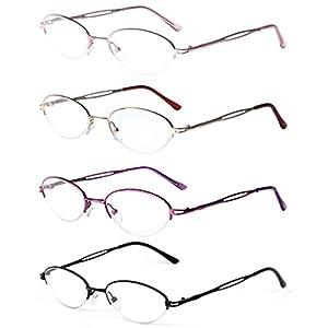 Liansan 4 Pairs Quality Ladies' Readers Metal Half Frame Reading Glasses for Women L731(+2.75)