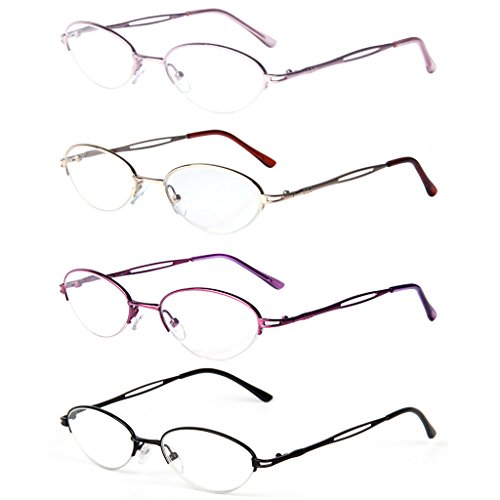 Liansan 4 Pairs Quality Ladies' Readers Metal Half Frame Reading Glasses for Women L731(+2.00)