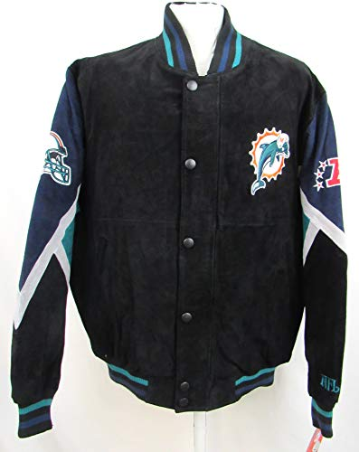 G-III Sports Miami Dolphins Mens Large Full Zip Embroidered Suede/Soft Leather Jacket ADOL 1 L