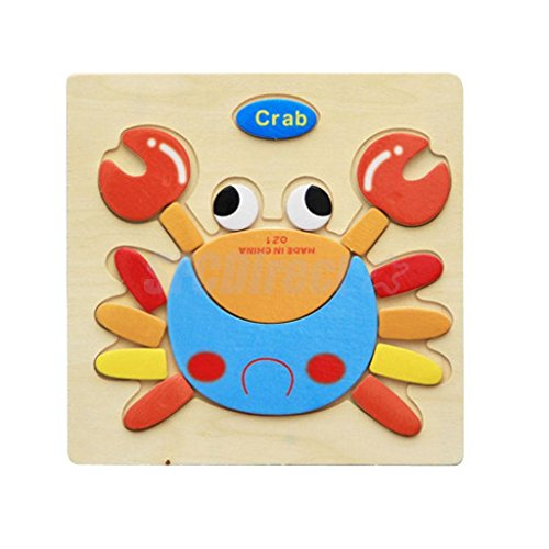 MAZIMARK--Cartoon Crab Design Wooden Tray Puzzle Jigsaw Preschool Children Kids Toy - Burger King Costume Ideas