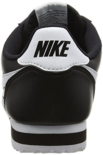 Nike Women's WMNS Classic Cortez Leather Fitness Shoes, Bianco, 3.5 UK Black (Black/White/White 010)