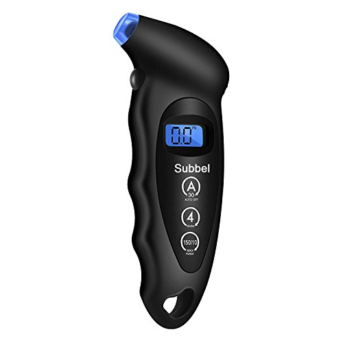 Digital Tire Pressure Gauge, Subbel 150 PSI Digital Tire Pressure Gauge 4 Settings with Non-Slip Grip and Backlit LCD-Button Cells, Black (1 Pack)