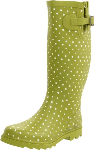 Chooka Women's Posh Dots Rain Boot, Dirty Lime, 9 M US