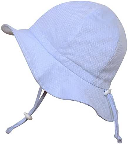Baby Sun Hat with Chin Strap, Drawstring Adjust Head Size, Breathable 50+ UPF (S: 0 - 9m, Blue argyle )