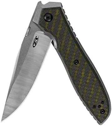 Zero Tolerance Emerson CF Pocketknife 3.75 Inch CPM 20CV Steel Blade, Machined and Stonewashed Titanium with Green Carbon Fiber Overlay, Manual Opening, Every Day Carry Knife, Made in USA 0640