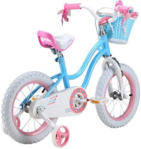 """Royalbaby star-girl girl/'s kids children bike in colour blue and rose in size 12/"""" 14/"""" 16/"""" with stabilisers and basket."""