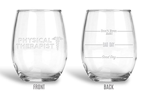Coasters Glass Etched - BadBananas Physical Therapist Gifts - 21 oz Engraved Wine Glass with Etched Coaster - Good Day, Bad Day, Don't Even Ask - Funny Gifts