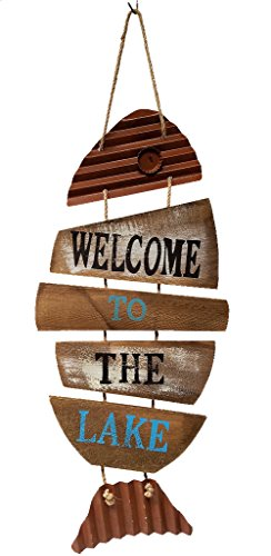 Lake House Decor Fish Wall Sign, Wood and Tin (Welcome to the ()