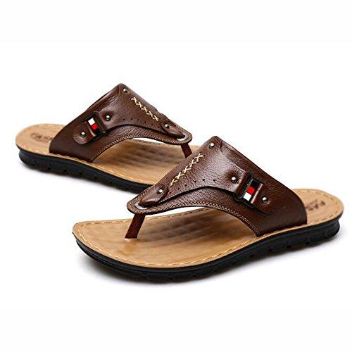 XIAOLIN Sandalias y sandalias de cuero del verano sandalias de los hombres Zapatillas antideslizantes del sexo del pie de los pies Zapatillas de playa al aire libre de la tendencia (tamaño opcional) ( 01