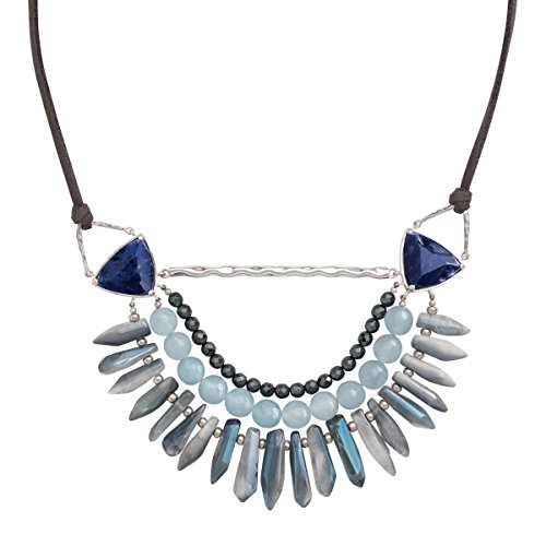 (Silpada 'Blue Montana' Natural Hematite, Quartzite, Rock Crystal, Sodalite Necklace in Sterling Silver & Cord)