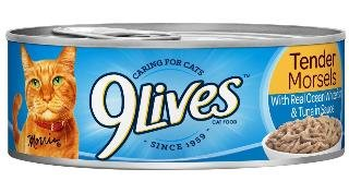 9Lives Tender Morsels With Real Ocean Whitefish & Tuna In Sauce Wet Cat Food 5x4 5.5Z