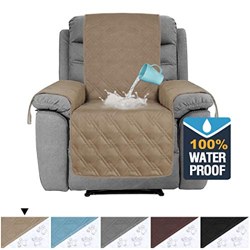 H.VERSAILTEX 100% Waterproof Recliner Protector Non-Slip Furniture Cover for Recliner Chair, Sofa Protector Recliner Chair Cover Stay in Place Protect from Pets Spills Wear and Tear (Recliner: Taupe) ()