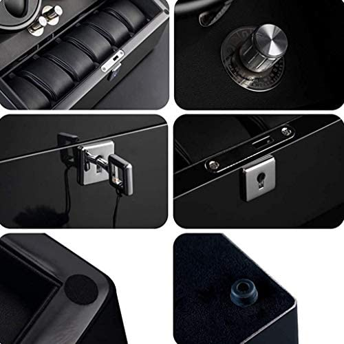 ケースターンテーブル装置4 + 6機械式時計のストレージを巻きウォッチワインダーウォッチワインダーボックスブラック自動ロータリーマルチエピトープウォッチワインダーサイレント静かなモーター自動