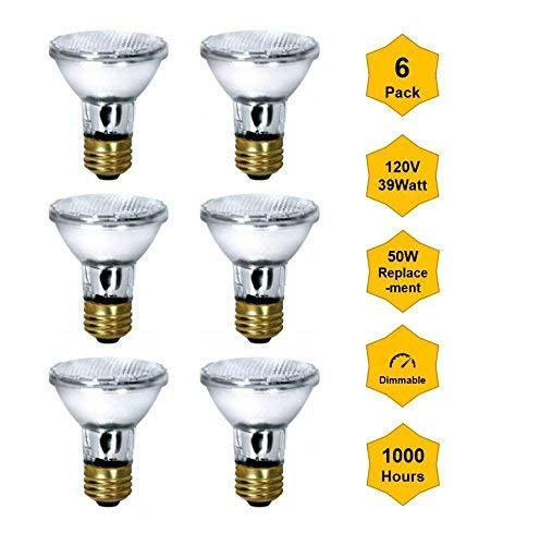 6Pack Par20-120V-39W (Flood, High Output 50W Equivalent) Halogen Bulb Bright White 2900K