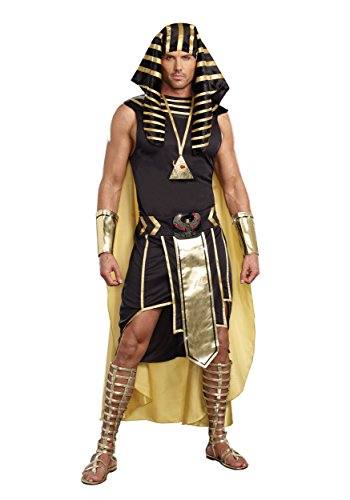 Dreamgirl Men's King of Egypt King Tut Costume, Black/Gold, Medium (Egyptian Girl Sexy)