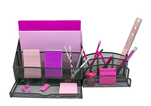 Office Mesh Desk Organizer, 2 pc Desk set, Caddy with Tray & 5 Compartments by An Entrepreneur's Life