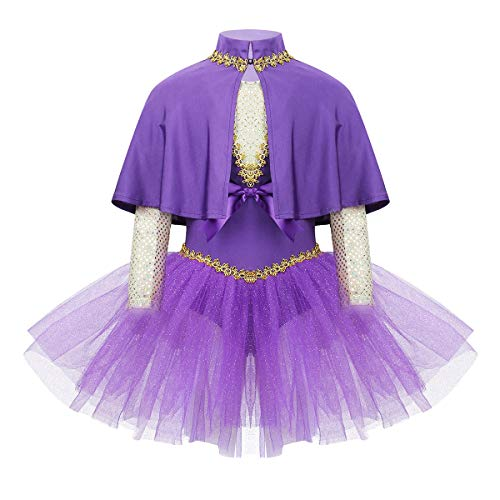 YONGHS Kids Girls Sleeveless Leotard Dress with Cape Arm Sleeves Outfits Set for Halloween Cosplay Party Role Play Purple 6