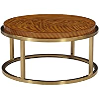 The Amazing Home C200-02 Sausalito Round Coffee Cocktail Table, Brass and Exotic Veneer