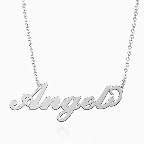 (SOUFEEL Angel Name Necklaces Pendant Stainless Steel Silver Personalized Nameplate for Women Girls Gifts)