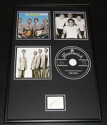 Jerry Allison Signed Framed 12x18 Chirping Crickets CD & Photo